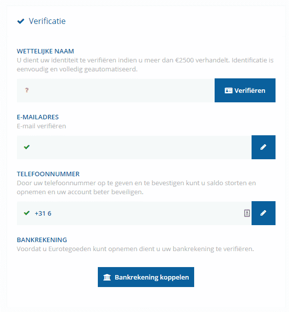 Bitvavo verificaties en limieten