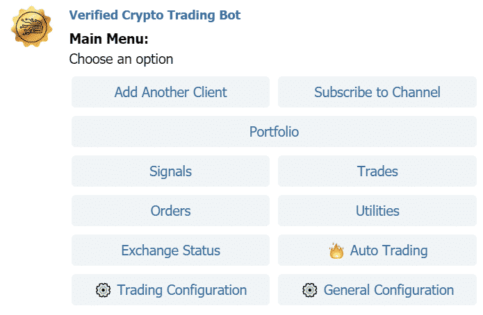 Verified Crypto Trading Bot layout